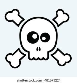 vector illustration of a cute skull