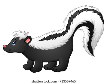 Vector illustration of Cute skunk cartoon
