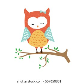 vector illustration of cute sleeping owl on the tree with leaves. Great for nursery decoration or card for children