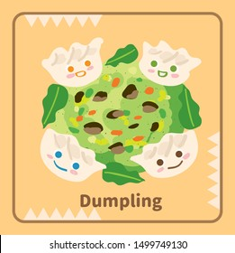 Vector illustration of cute smile face dumpling around vegetables stuffing.