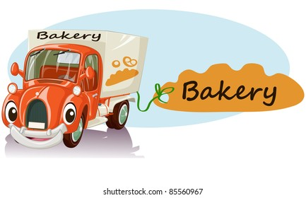 Vector illustration, cute smiling bakery car, cartoon concept, white background.