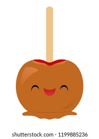 Vector illustration of a cute smiling caramel apple