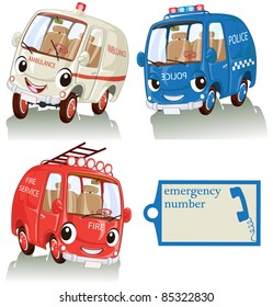 Vector illustration, cute smiling emergency cars with label, card concept, white background.