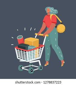 Vector illustration of Cute smiling girl with grocery cart on dark background.
