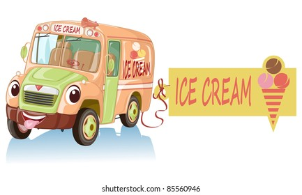 Vector illustration, cute smiling ice cream car, cartoon concept, white background.