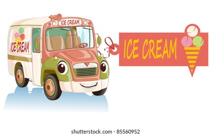 Vector illustration, cute smiling ice cream car, cartoon concept, white background