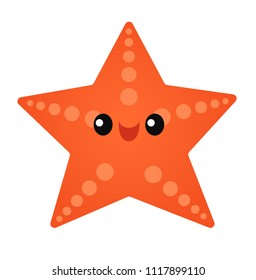 Vector illustration of a cute smiling starfish