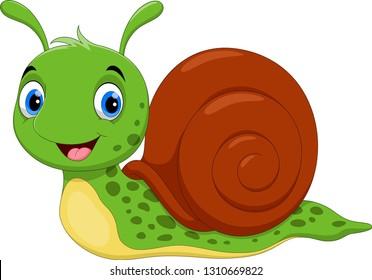 Vector illustration of Cute Snail cartoon