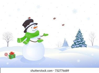 Vector illustration of a cute snowman feeding small birds, winter snowing background