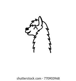 Vector illustration of cute south America lama head. Isolated outline cartoon baby llama face. Hand drawn Peru animal guanaco, alpaca, vicuna. Drawing for print, fabric, textile, poster etc