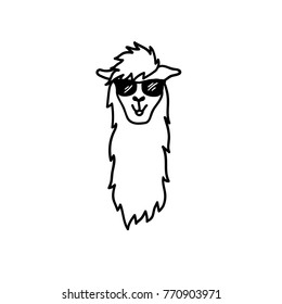 Vector illustration of cute south America lama head in trendy glasses. Isolated outline cartoon baby llama face. Hand drawn Peru animal guanaco, alpaca, vicuna. Drawing for print, fabric etc