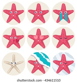 Vector Illustration of a cute star fish avatar expression set on a white background.