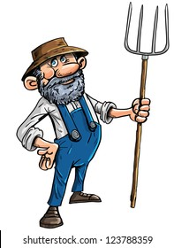 Vector illustration of a cute stereotypical cartoon farmer in a hat and dungarees holding a pitchfork isolated on white