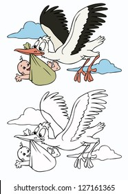 Vector illustration, cute stork with baby, cartoon concept.