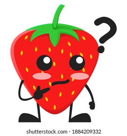 vector illustration of cute strawberry fruit or character question confused. cute strawberry fruit Concept White Isolated. Flat Cartoon Style Suitable for Landing Page, Banner, Flyer, Sticker.