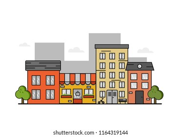 Vector illustration:  cute street with different houses