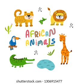 Vector illustration of cute stylized Africa and African animals set. Colorful cartoon jungle hand drawn with lettering. For children room, t-shirt, cover, poster, invitation template card, kids party