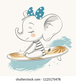 Vector illustration of a cute surfing baby elephant.