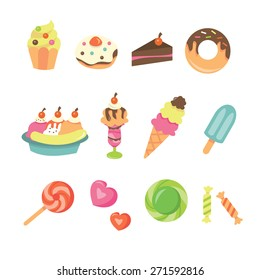 A vector illustration of cute sweet desserts icon set. Included in this set:- cupcake, donut, cake, pastry, sundae, ice cream, ice pop, candies, sweets and lollipop.