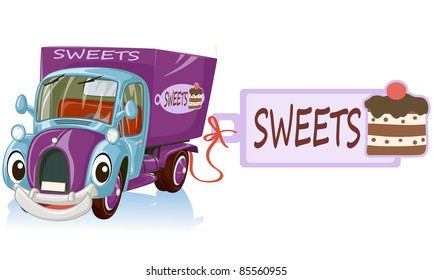 Vector illustration, cute sweets car, cartoon concept, white background.