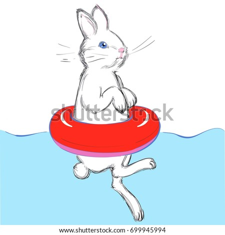 vector illustration cute swimming bunny red stock vector royalty