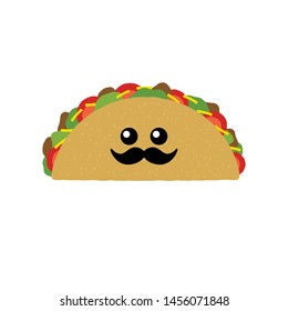 Vector illustration of a cute taco with a moustache. Funny food concept.