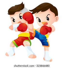 Vector illustration of Cute Thai boxing kids fighting actions knee over strike and back kick