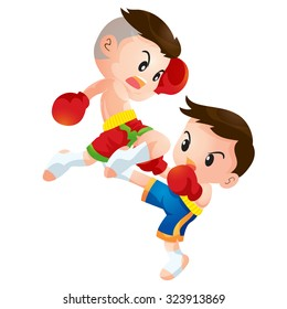 Vector illustration of Cute Thai boxing kids fighting actions knee over strike