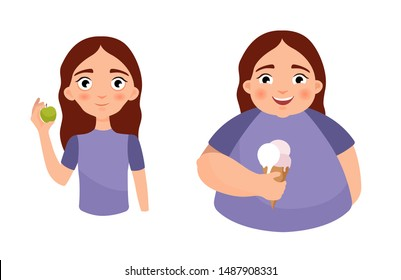 Vector illustration of a cute thin and fat girl. The concept of anorexia and obesity. Mental disorders. Before and after.
