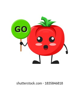 vector illustration of cute tomato mascot or character holding sign say go. cute tomato Concept White Isolated. Flat Cartoon Style Suitable for Landing Page, Banner, Flyer, Sticker.