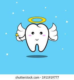 Vector illustration of cute tooth fairy
