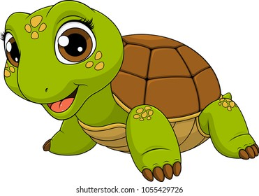 Vector illustration of a cute turtle baby child smiling, on a white background