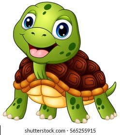 Vector illustration of Cute turtle cartoon smiling
