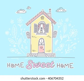 Vector illustration of cute two storey cottage with flowers and inscription of yellow and pink colors on blue background with white clouds. Hand drawn flat line art design to make a greeting card