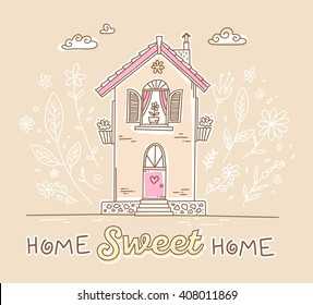 Vector illustration of cute two story cottage with flowers and inscription of pink colors on orange background with white clouds. Hand drawn flat line art design to make a greeting card, poster, web
