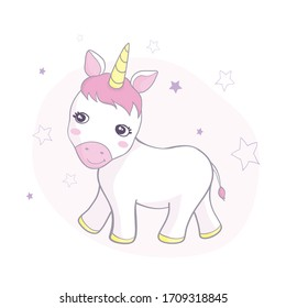 Vector illustration of cute unicorn.