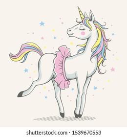 Vector illustration of a cute unicorn ballerina in a pink tutu.