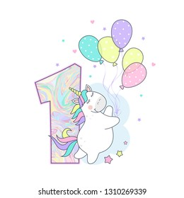 vector illustration of a cute unicorn with balloons, number one, birthday card