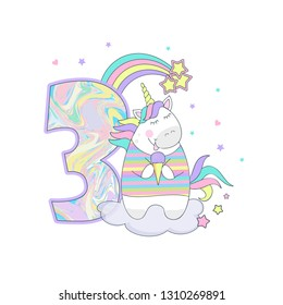 vector illustration of a cute unicorn with balloons number three, birthday card