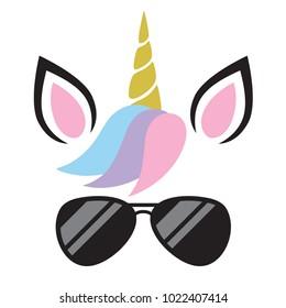 Vector illustration of cute unicorn face wearing sunglasses.