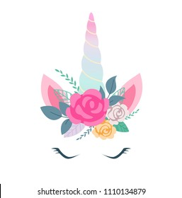 Vector illustration of cute unicorn face with flowers. Design element for birthday cards, party invitations.