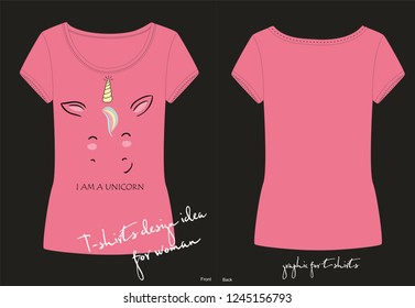 T-Shirt 3D Printed Composition with Unicorn and Rainbow Cartoon Style Cute Character Casual Tees