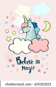 Vector illustration with cute unicorn head, clouds, stars and the moon. Magic postcard with little unicorn head on light pink background.