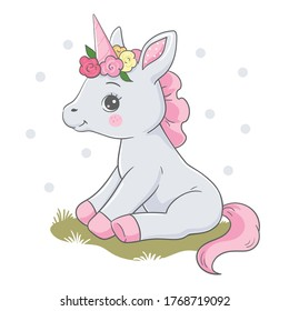 Vector illustration of a cute unicorn in pink and gray colors, with a wreath of flowers on its head, sitting on the grass.