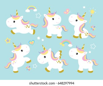 Vector Illustration Of Cute Unicorns