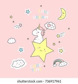 Vector illustration of cute unicorns. Dreaming unicorn on rose background