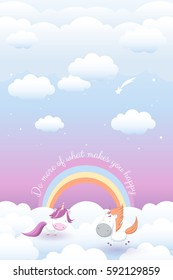 "vector illustration with cute unicorns on sky background among stars and fluffy clouds and message ""do more of what makes you happy""; hand drawn; greeting card, poster, children's room decor"
