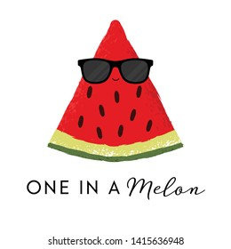 Vector illustration of a cute watermelon wearing sunglasses. One in a melon. Funny food concept.