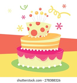 A vector illustration of a cute whimsical tier mad hatter birthday cake.