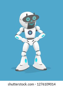 Vector illustration of a cute white robot it is smiling. the robot is standing Isolated On Blue Background. the robot has two screens. the concept is robotic technology